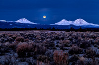 Full Moon Setting Over Three Sisters